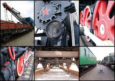 Collage with different parts of old trains Royalty Free Stock Photo