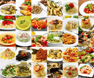 A collage of different pasta dishes of Italian cuisine Stock Images