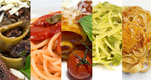 Collage of different pasta types Stock Image