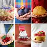 Collage different pastries, fruit and products holds in hands Stock Photo