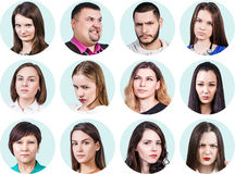 Collage of different people with anger emotions Stock Image