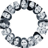 Collage of different people in circle. royalty free stock photography