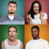 Collage of different people expressing disgust. Collage of different grimacing men and women expressing disgust, feeling boredom, on colorful studio backgrounds royalty free stock photo