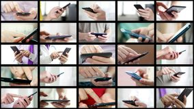 Collage of different people hands texting SMS on smartphones. Collage of different people hands texting or typing SMS on smartphones. They using cell phones and royalty free stock photography