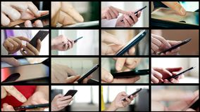 Collage of different people hands texting SMS on smartphones. Collage of different people hands texting or typing SMS on smartphones. They using cell phones and stock images