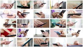 Collage of different people hands texting SMS on smartphones. Collage of different people hands texting or typing SMS on smartphones. They using cell phones and stock photo