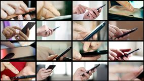 Collage of different people hands texting SMS on smartphones. Collage of different people hands texting or typing SMS on smartphones. They using cell phones and royalty free stock images
