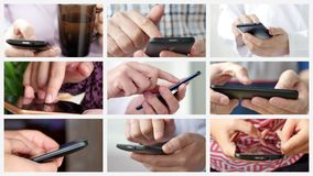 Collage of different people hands texting or typing on theirs smartphones. stock video