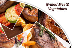 Collage from different photoes of grilled meat Stock Images