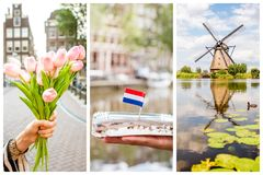 Collage of different photos of Amsterdam Stock Photography