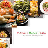 Collage from different photos of Italian pasta Stock Images