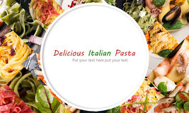 Collage from different photos of Italian pasta Royalty Free Stock Photo