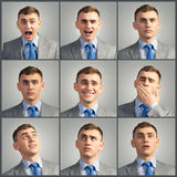 Collage of different photos of the young man Royalty Free Stock Image