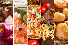 Collage from different pictures of food Royalty Free Stock Image