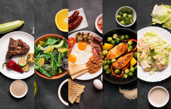 Collage from different pictures of natural organic food Stock Photos