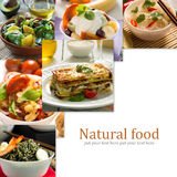 Collage from different pictures of tasty food Stock Images