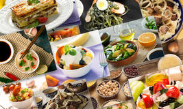 Collage from different pictures of tasty food Stock Photos