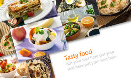 Collage from different pictures of tasty food Royalty Free Stock Photo