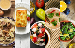 Collage from different pictures of tasty food Royalty Free Stock Image