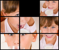 Collage of different poses of girl drinking milk Stock Photography