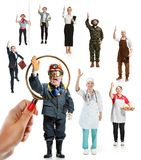 Collage of different professions stock photos