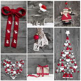 Collage of different red, white and grey christmas decoration on Royalty Free Stock Images