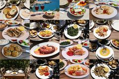 Collage of different seafood dishes of delicious greek cuisine. royalty free stock image