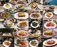 Collage of different seafood meat salads dishes of delicious greek cuisine, tasty greek summer holidays concept. royalty free stock image