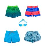 Collage of different shorts for boys. Of different colors Stock Images