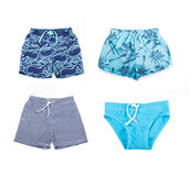 Collage of different shorts for boys. Of different colors Royalty Free Stock Image