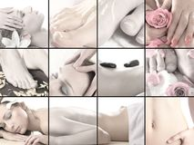 Collage of different spa treatment images Royalty Free Stock Photos