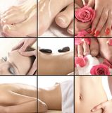 Collage of different spa treatment images Stock Images