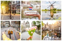Collage of different photos of Amsterdam Royalty Free Stock Photos