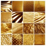 Collage of different textured gold surfaces. Collage of different textured shiny gold surfaces royalty free stock photo