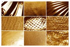 Collage of different textured gold surfaces. Collage of different textured shiny gold surfaces stock images