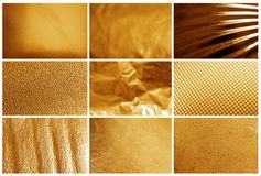 Collage of different textured gold surfaces. Collage of different textured shiny gold surfaces stock photography