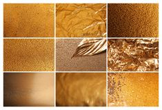 Collage of different textured gold surfaces. Collage of different textured shiny gold surfaces royalty free stock image