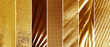 Collage of different textured gold surfaces. Collage of different textured shiny gold surfaces royalty free stock images