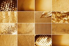 Collage of different textured shiny gold surfaces. Collage royalty free stock photo