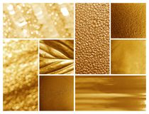 Collage of different textured gold surfaces. Collage of different textured shiny gold surfaces royalty free stock photography