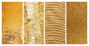 Collage of different textured gold surfaces. Collage of different textured shiny gold surfaces stock photos