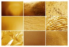 Collage of different textured gold surfaces. Collage of different textured shiny gold surfaces stock image