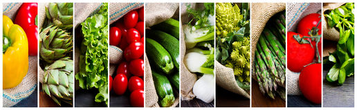 Collage of different types of fresh vegetables Stock Images