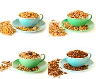 Collage of 4 different types of granola. stock photo