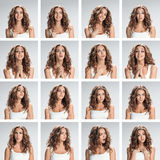 The collage from different woman emotions on gray background royalty free stock photos