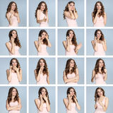The collage from different woman emotions on gray background Royalty Free Stock Images