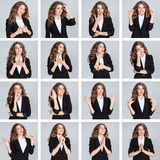 The collage from different woman emotions on gray background Stock Photo