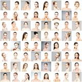 Collage of different portraits of young women in makeup. Collage of different women portraits. Spa, face lifting, plastic surgery concept stock photo
