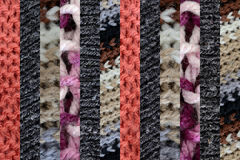 Collage of different wools, thin vertical stripes Stock Images