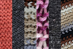 Collage of different wools, vertical stripes Royalty Free Stock Photo